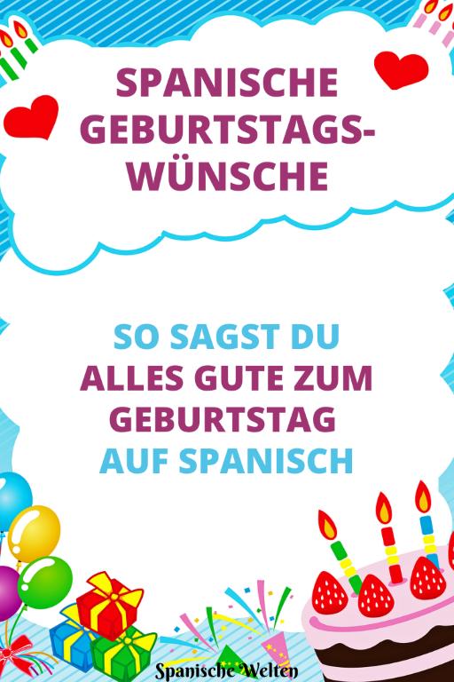 Alles Gute zum Geburtstag Spanisch - Pinterest Grafik