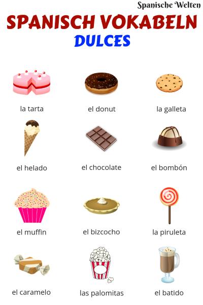 Spanisch Vokabeln Süßigkeiten