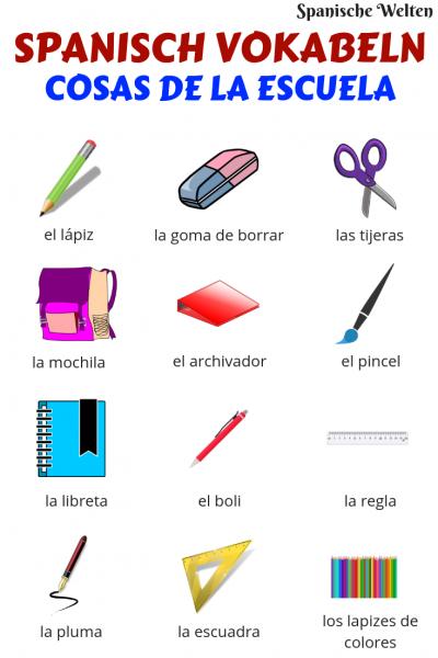 Spanisch Vokabeln Schulsachen