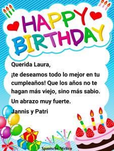 Spanische Geburtstagskarte